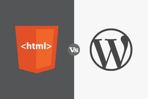 HTML Vs WordPress Flat Design Image
