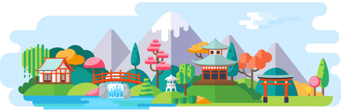 House by waterfall and mountains illustration