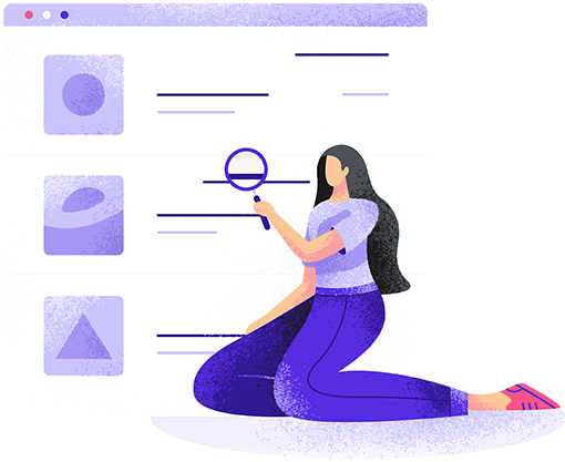 Illustration of sitting woman searching the internet