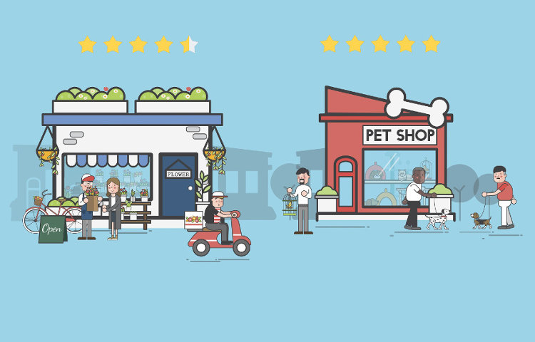 Illustration of retail businesses