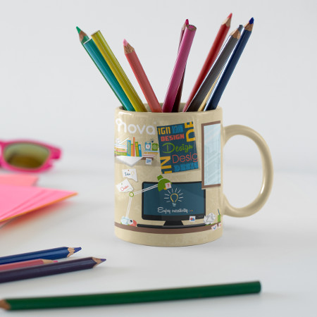 Cup with printed web design pattern