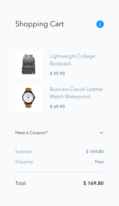 UI for shopping cart page