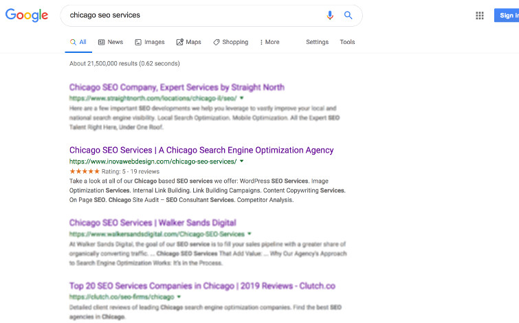 Google search results for Chicago SEO agencies