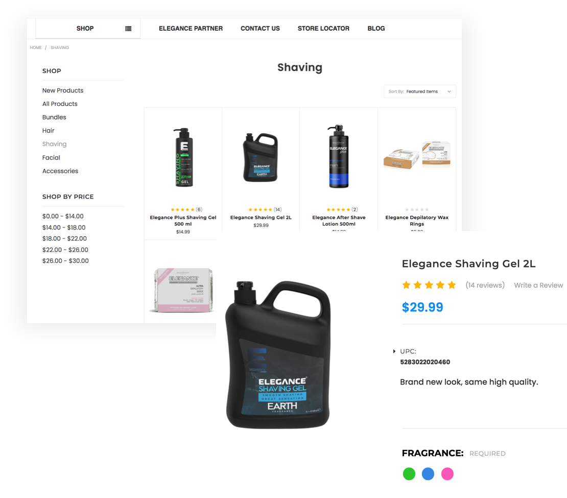 online store product cards