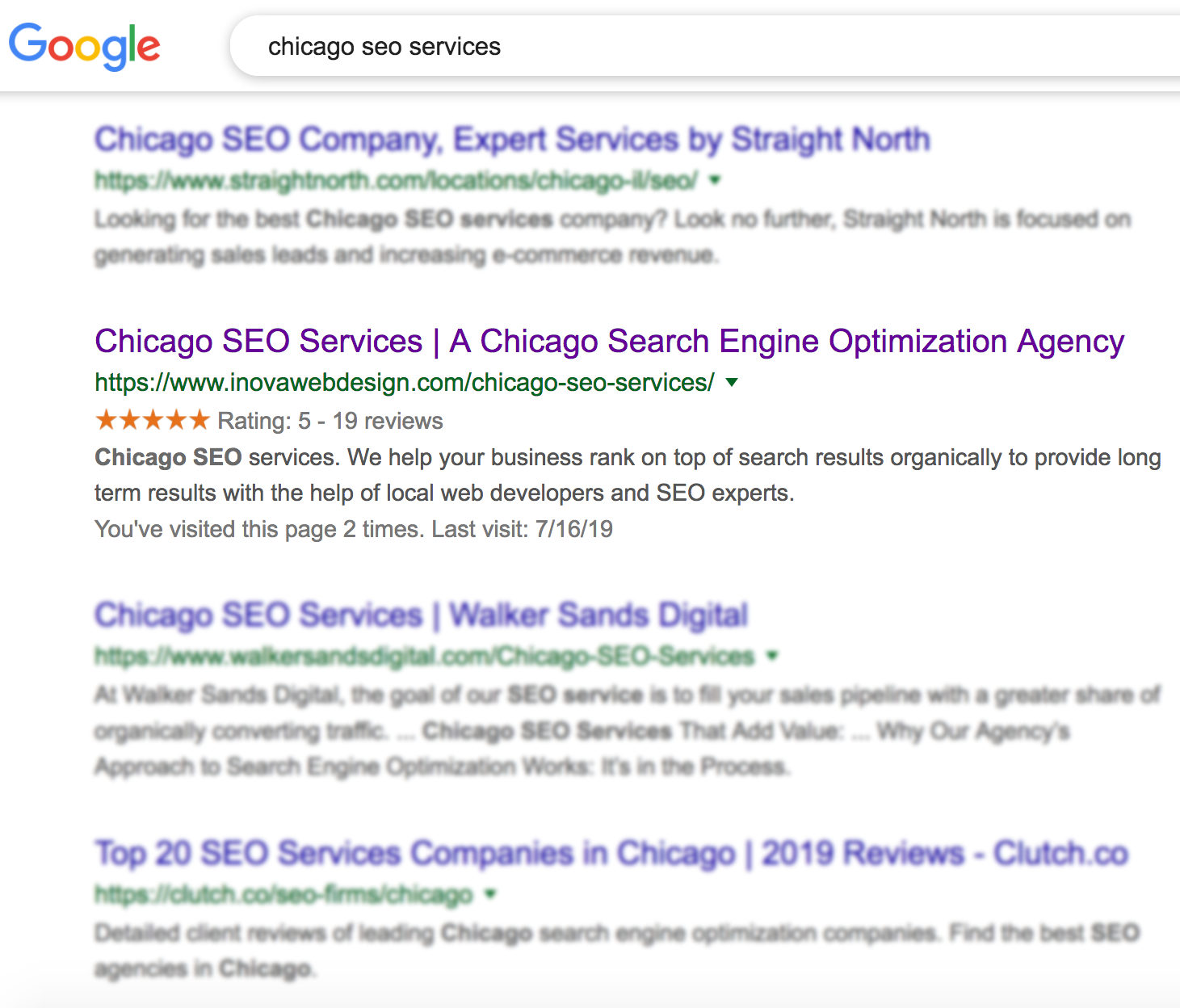 Google search results for SEO services
