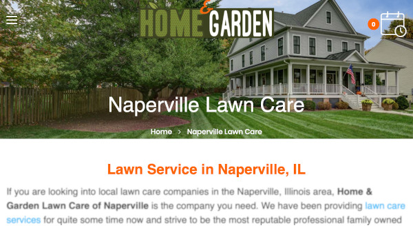 City page example for a local lawn care company.