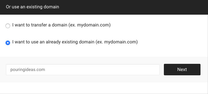 Use existing domain for hosting set-up