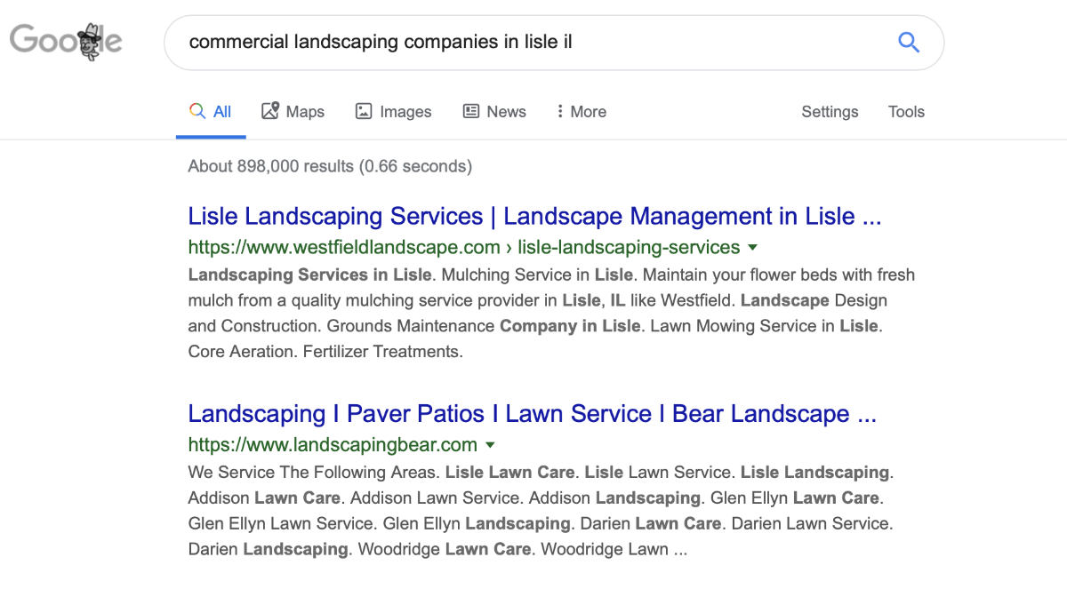 Search result for local landscaping company in lisle,IL