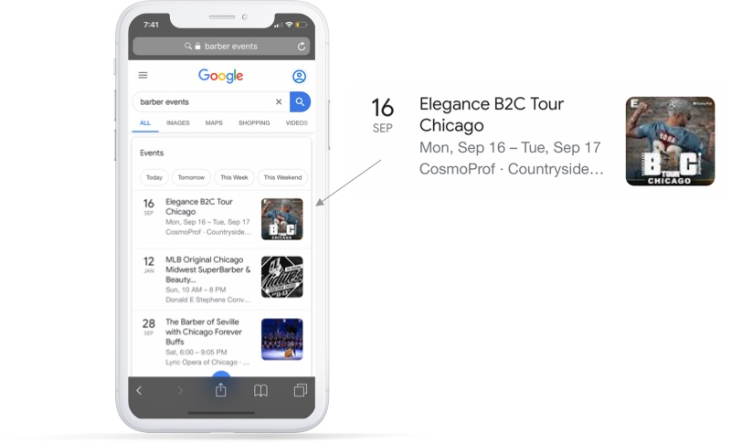 Rich card Google Events example