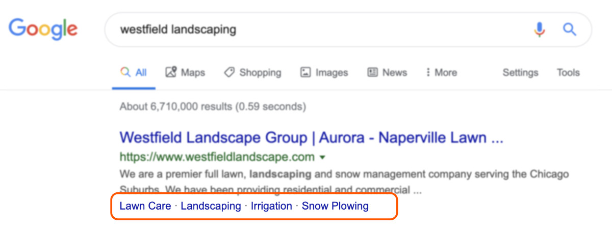 Main navigation showing in rich snippets