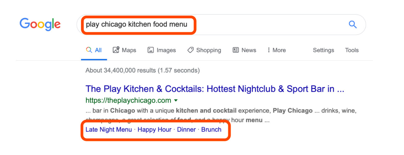 Restaurant menu as rich snippet in search results