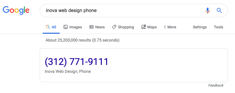 Search result for a local company phone number