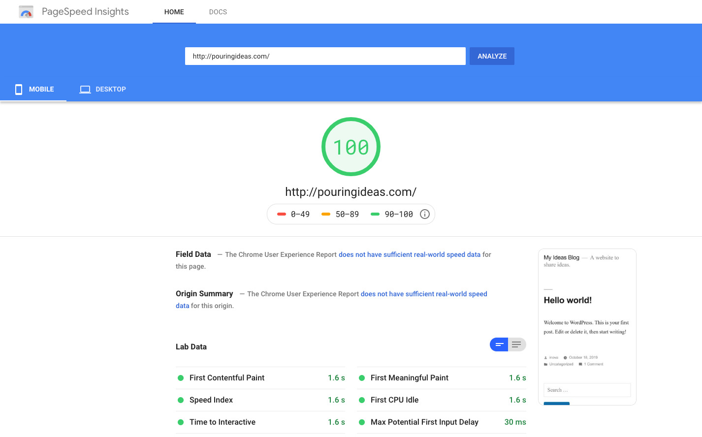 pagespeed insights SEO tool.