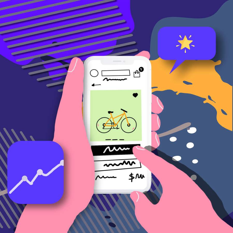User shopping on mobile phone illustration